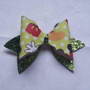 🍄 Large Faux Leather Mickey Mouse Hair Bow